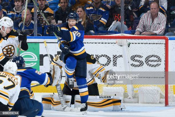 Nikita Soshnikov of the St Louis Blues attempts a screen against the Boston Bruins at Scottrade Center on March 21 2018 in St Louis Missouri