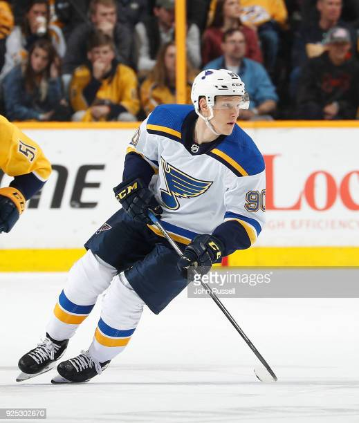 Nikita Soshnikov of the St Louis Blues skates against the Nashville Predators during an NHL game at Bridgestone Arena on February 25 2018 in...