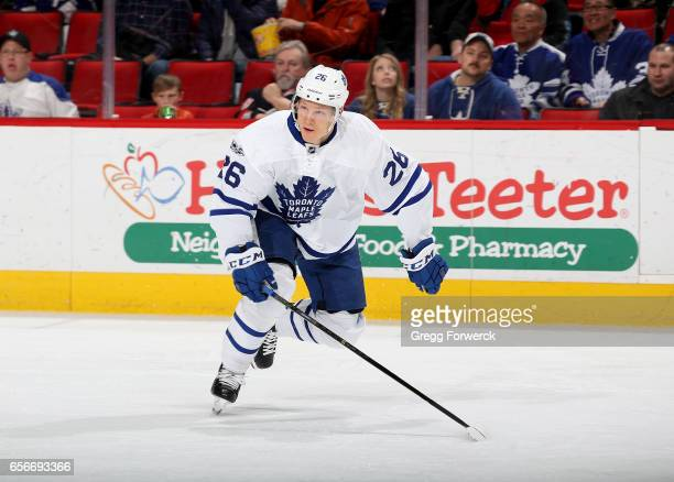 Nikita Soshnikov of the Toronto Maple Leafs skates for position on the ice during an NHL game against the Carolina Hurricanes on March 11 2017 at PNC...