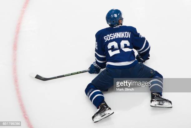 Nikita Soshnikov of the Toronto Maple Leafs stretches during warm up prior to the game against the Detroit Red Wings at the Air Canada Centre on...
