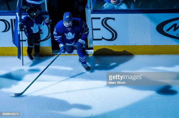 Nikita Soshnikov of the Toronto Maple Leafs takes the ice during warm up prior to the game against the Boston Bruins at the Air Canada Centre on...