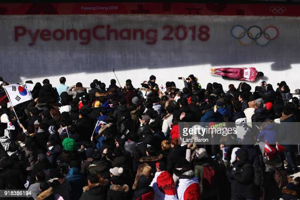 Nikita Tregubov of Olympic Athlete from Russia slides during the Men's Skeleton heats on day six of the PyeongChang 2018 Winter Olympic Games at the...