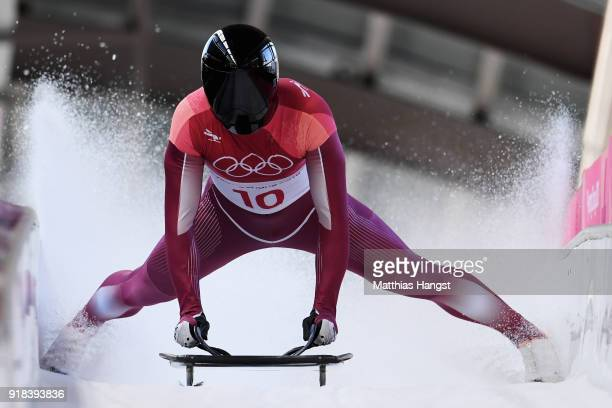 Nikita Tregubov of Olympic Athlete from Russia slides into the finish area during the Men's Skeleton heats on day six of the PyeongChang 2018 Winter...