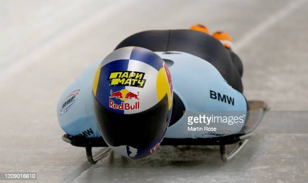 Nikita Tregubov of Russia in action during the first heat for the Men's Skeleton on day seven of the BMW IBSF World Championships Altenberg 2020 on...