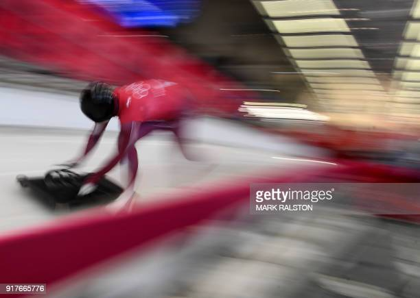 Nikita Tregubov of Russia starts his men's skeleton training session at the Olympic Sliding Centre during the Pyeongchang 2018 Winter Olympic Games...
