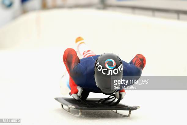 Nikita Tregubov of Russia takes a training run in the Men's Skeleton during the BMW IBSF Bobsleigh + Skeleton World Cup at Utah Olympic Park November...