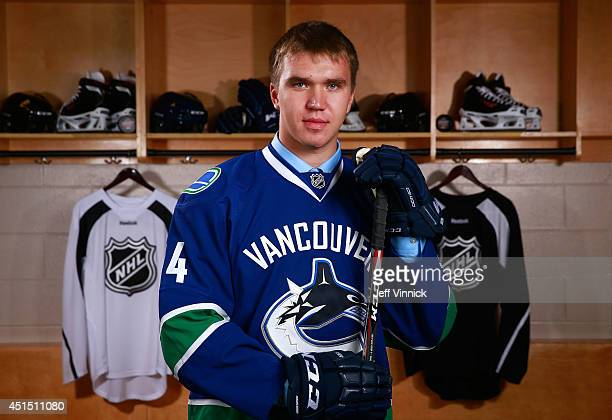Nikita Tryamkin 66th overall pick of the Vancouver Canucks poses for a portrait during the 2014 NHL Entry Draft at Wells Fargo Center on June 28 2014...