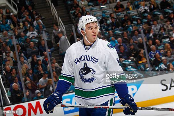 Nikita Tryamkin of the Vancouver Canucks looks on during the game against the San Jose Sharks at SAP Center on March 31 2016 in San Jose California
