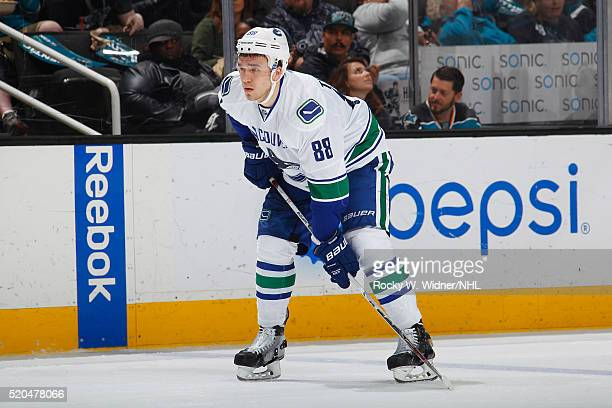 Nikita Tryamkin of the Vancouver Canucks skates against the San Jose Sharks at SAP Center on March 31 2016 in San Jose California
