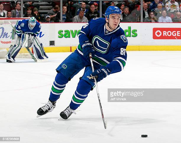 Nikita Tryamkin of the Vancouver Canucks skates up ice during their NHL game against the Chicago Blackhawks at Rogers Arena March 27 2016 in...