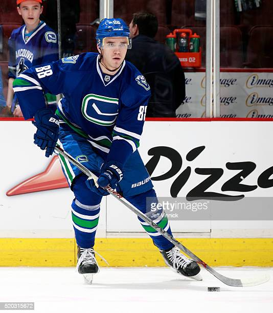 Nikita Tryamkin of the Vancouver Canucks skates up ice during their NHL game against the Winnipeg Jets at Rogers Arena March 14 2016 in Vancouver...