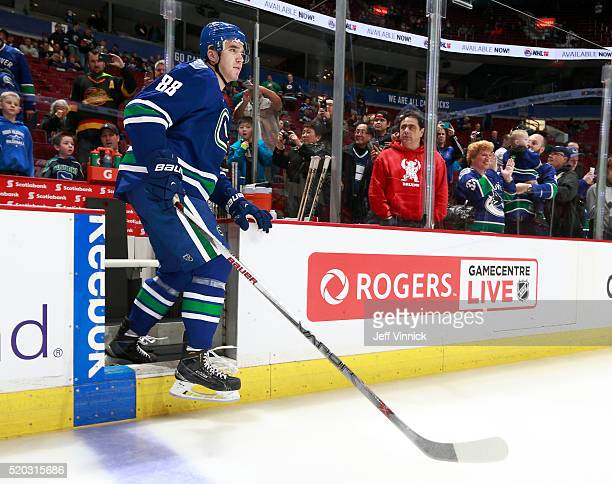 Nikita Tryamkin of the Vancouver Canucks steps onto the ice during their NHL game against the Winnipeg Jets at Rogers Arena March 14 2016 in...