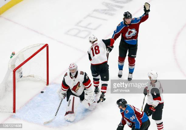 Nikita Zadorov of the Colorado Avalanche celebrates his goal against the Arizona Coyotes at 18:16 of the third period in Game Five of the Western...