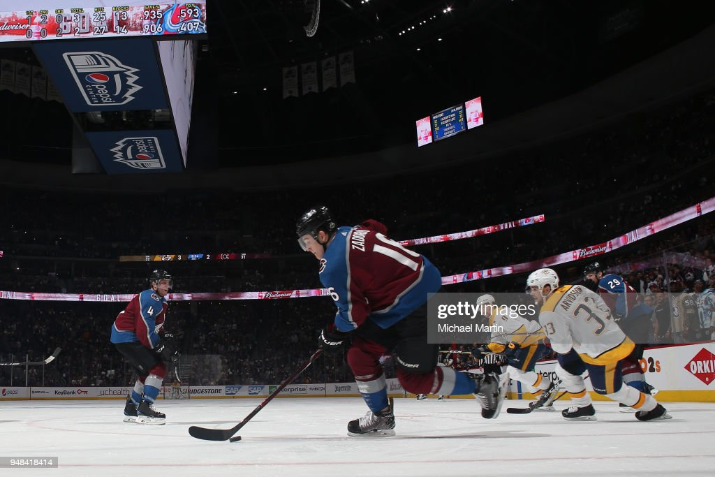 Nikita Zadorov #16 of the Colorado Avalanche skates against Viktor Arvidsson #33 of the Nashville Predators in Game Four of the Western Conference First Round during the 2018 NHL Stanley Cup Playoffs at the Pepsi Center on April 18, 2018 in Denver, Colorado. The Predators defeated the Avalanche 3-2.