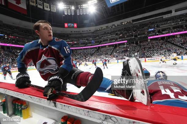 Nikita Zadorov of the Colorado Avalanche stretches prior to Game Three of the Western Conference First Round during the 2018 NHL Stanley Cup Playoffs...
