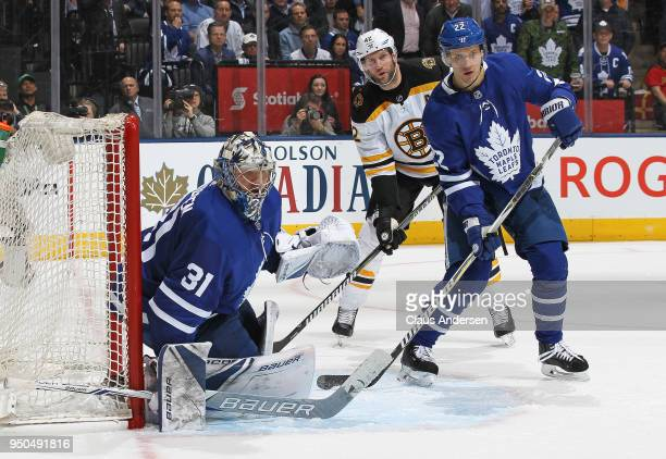 Nikita Zaitsev and Frederik Andersen of the Toronto Maple Leafs defends the net against the Boston Bruins in Game Six of the Eastern Conference First...