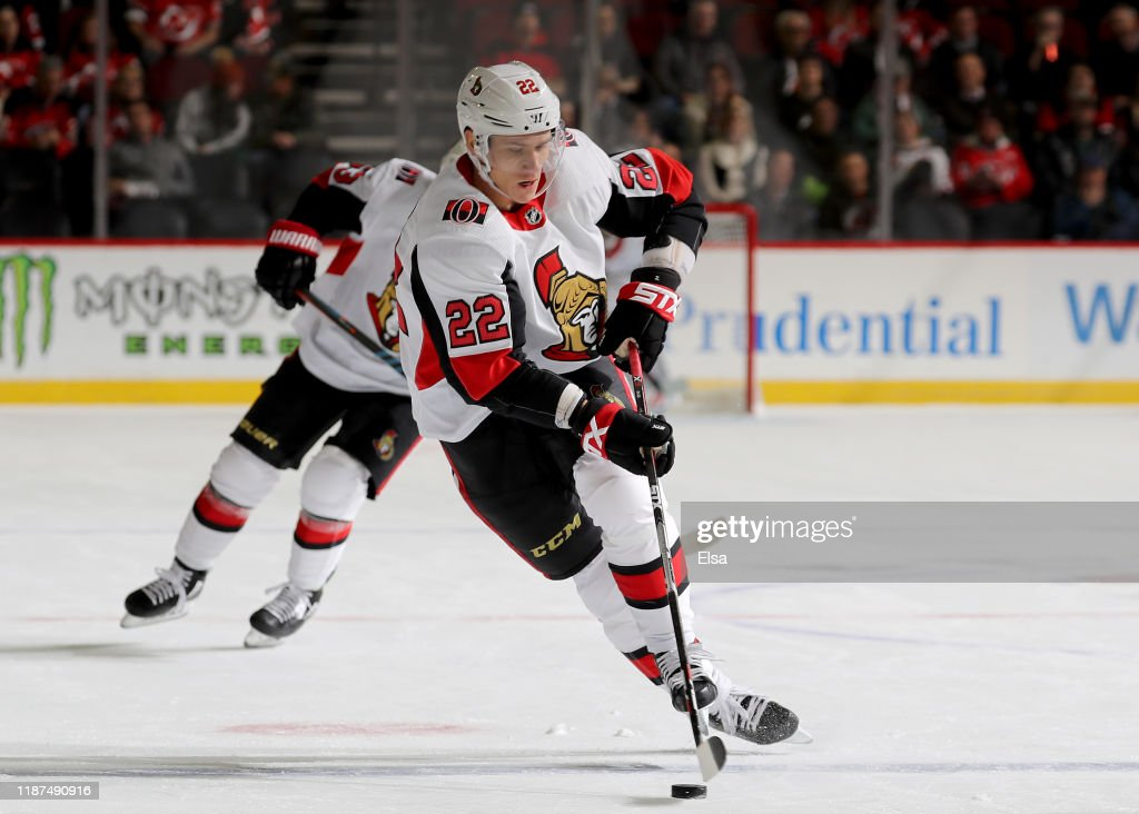 Nikita Zaitsev of the Ottawa Senators takes the puck in the first ...