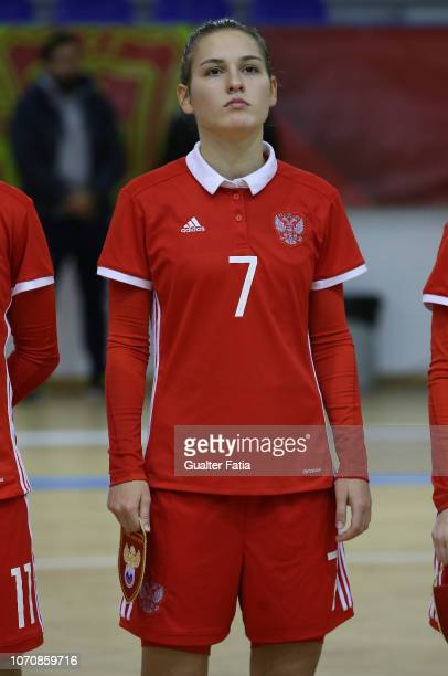 Nikitina of Russia before the start of the FUTSAL International match between Portugal and Russia at Pavilhao Municipal da Nazare on December 9 2018...