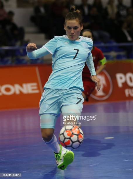 Nikitina of Russia in action during the FUTSAL International match between Portugal and Russia at Pavilhao Municipal da Nazare on December 7 2018 in...