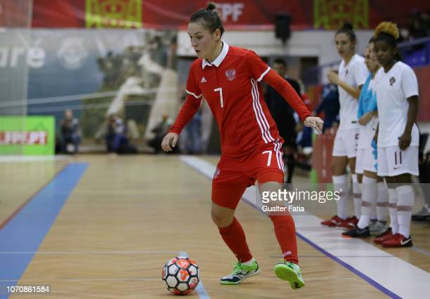 Nikitina of Russia in action during the FUTSAL International match between Portugal and Russia at Pavilhao Municipal da Nazare on December 9 2018 in...