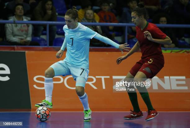Nikitina of Russia with Fifo of Portugal in action during the FUTSAL International match between Portugal and Russia at Pavilhao Municipal da Nazare...