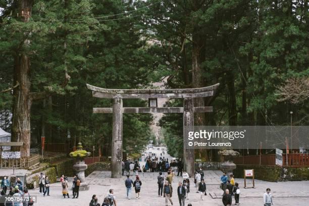 nikkō - torii gate - peter lourenco stock-fotos und bilder