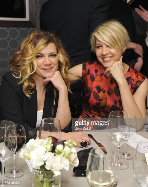 Nikka Costa and Jenna Elfman attend dinner and cocktails hosted by Nicole Miller Emmy Rossum and Luis Barajas at Thompson Hotel on January 18 2012 in...