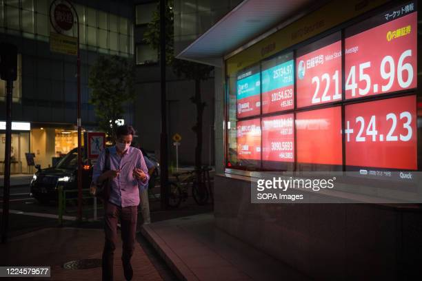 Nikkei Stock Exchange scoreboard is being displayed in the evening The Japanese government has advised residents to avoid crowded places in the...