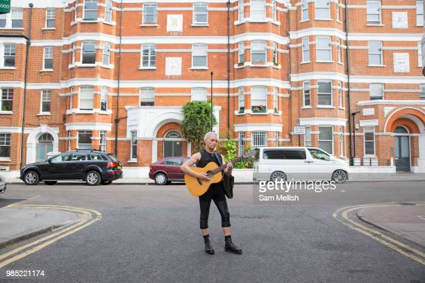 Nikki a street musician on the 23rd June 2018 in Brixton in the United Kingdom