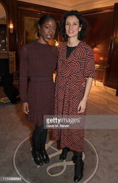 Nikki AmukaBird and Indira Varma attend the press night after party for All About Eve at The Waldorf Hilton on February 12 2019 in London England