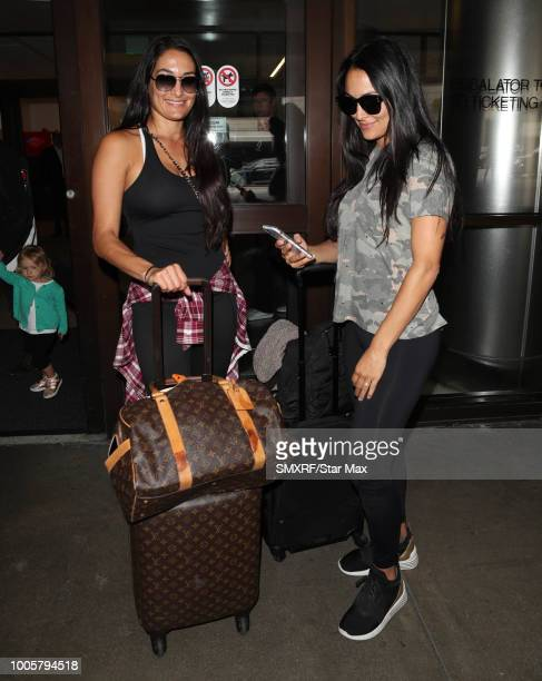 Nikki Bella and Brie Bella are seen on July 26 2018 in Los Angeles CA