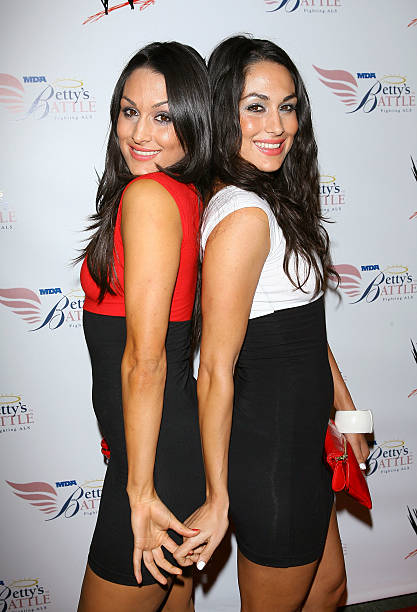 Nikki Bella and Brie Bella arrive to WWE's Summer Slam Kickoff Party held at hwood on August 21 2009 in Hollywood California