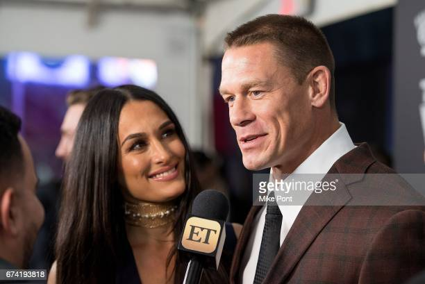 Nikki Bella and John Cena attend The Wall World Premiere at Regal Union Square Theatre Stadium 14 on April 27 2017 in New York City