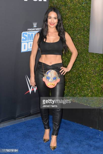 Nikki Bella attends WWE 20th Anniversary Celebration Marking Premiere of WWE Friday Night SmackDown on FOX at Staples Center on October 04, 2019 in...