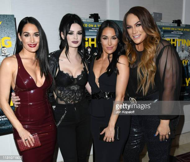 Nikki Bella Paige Bevis Brie Bella and Nia Jax attend Fighting With My Family Los Angeles Tastemaker Screening at The London Hotel on February 20...