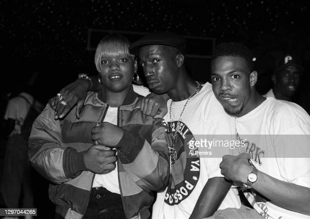 """Nikki D, Grandmaster Flash, Son of Bazerk and Sean """"Puffy"""" Combs attend an album-release party for A Tribe Called Quest's """"The Low End Theory"""" on..."""