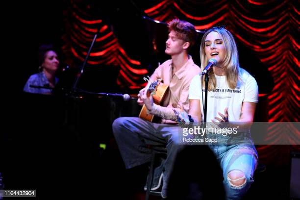 Nikki Flores Jay Cooper and JoJo perform at GRAMMY Camp Guest Artist Masterclass at USC Thornton School of Music on July 26 2019 in Los Angeles...