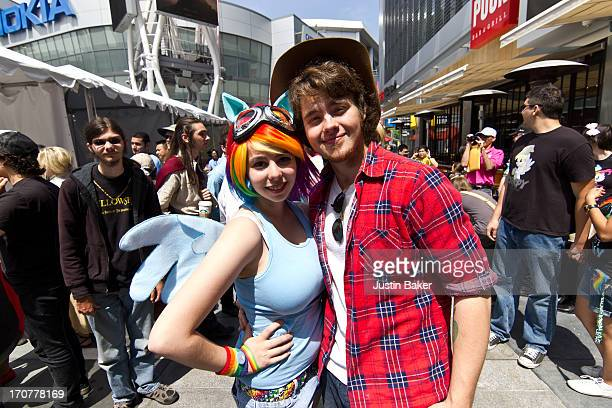 Nikki Freed and Myles Holliday attend family day during the 2013 Los Angeles Film Festival at Nokia Plaza LA LIVE on June 15 2013 in Los Angeles...