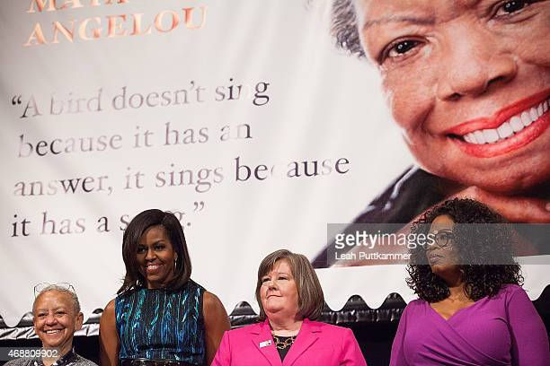Nikki Giovanni First Lady of the United States Michelle Obama Postmaster General Megan J Brennan and Oprah Winfrey attend the Dr Maya Angelou Forever...