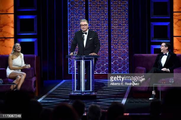 Nikki Glaser and Sean Hayes react while Alec Baldwin speaks onstage during the Comedy Central Roast of Alec Baldwin at Saban Theatre on September 07...