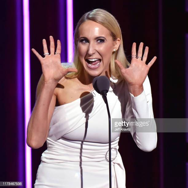Nikki Glaser speaks onstage during the Comedy Central Roast of Alec Baldwin at Saban Theatre on September 07 2019 in Beverly Hills California