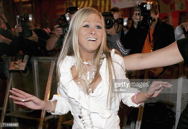 Nikki Graham poses for photographers after being the eighth person to be evicted from the Big Brother Seven House on July 14 2006 in Borehamwood...
