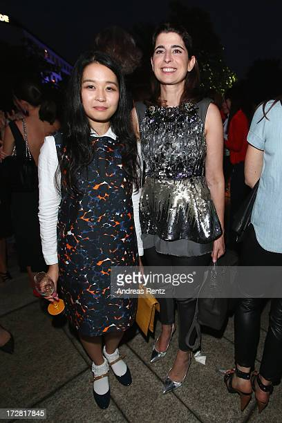 Nikki Guo and Dorothee Schumacher attend the Burda Style Group Preview Harper's Bazaar pre launch party during the MercedesBenz Fashion Week...
