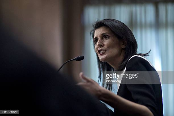 Nikki Haley governor of South Carolina and US ambassador to the United Nations nominee for US Presidentelect Donald Trump speaks during a Senate...