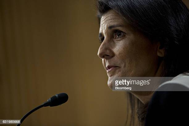 Nikki Haley governor of South Carolina and US ambassador to the United Nations nominee for US Presidentelect Donald Trump listens during a Senate...