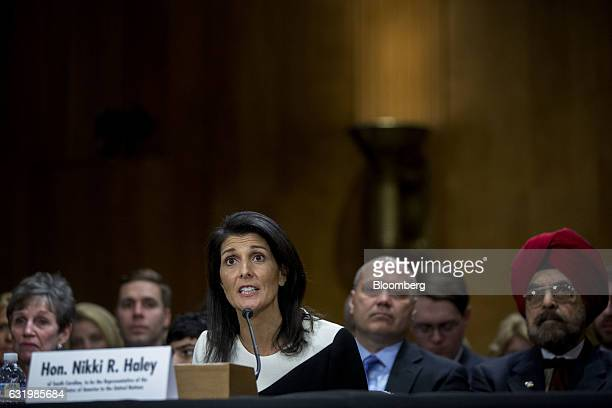 Nikki Haley governor of South Carolina and US ambassador to the United Nations nominee for US Presidentelect Donald Trump smiles during a Senate...