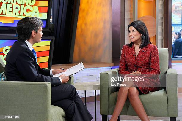 AMERICA Nikki Haley Governor of South Carolina talks with George Stephanopoulos on Good Morning America 4/2/12 airing on the ABC Television Network...