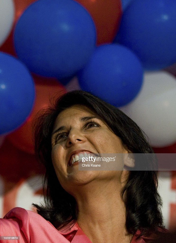 Nikki Haley greats to supporters as she comes onto stage during an election party for Republican South Carolina Governor candidate Nikki Haley at the State Museum on June 22, 2010 in Columbia, South Carolina. Haley defeated Rep. Gresham Barrett in a runoff election.