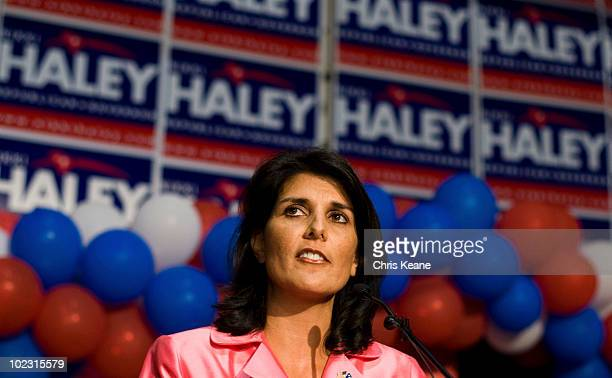 Nikki Haley speaks to supporters as she comes onto stage during an election party for Republican South Carolina Governor candidate Nikki Haley at the...