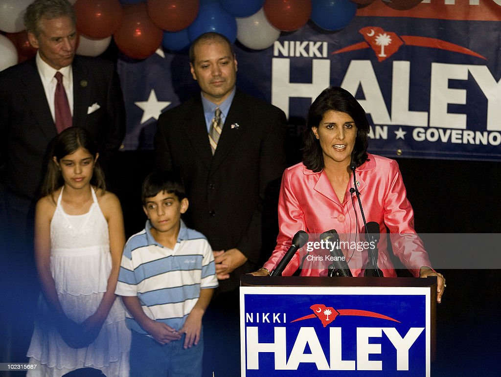 Nikki Haley speaks to supporters as she during an election party for Republican South Carolina Governor candidate Nikki Haley at the State Museum on June 22, 2010 in Columbia, South Carolina. Haley defeated Rep. Gresham Barrett in a runoff election.